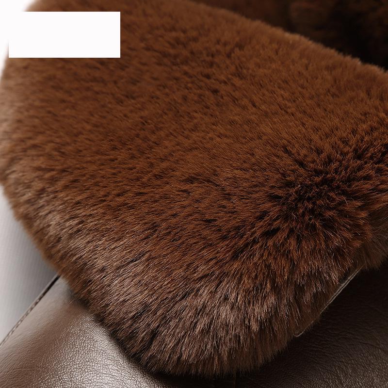 Nouvelle Éclair De Plus Hommes Mode Col brown À Épais En Taille Manteau Personnes 4xl M Arrivée La Fermeture Vêtements Fourrure Hiver Âgées Black Occasionnel Cuir Style Velours pAq8pr