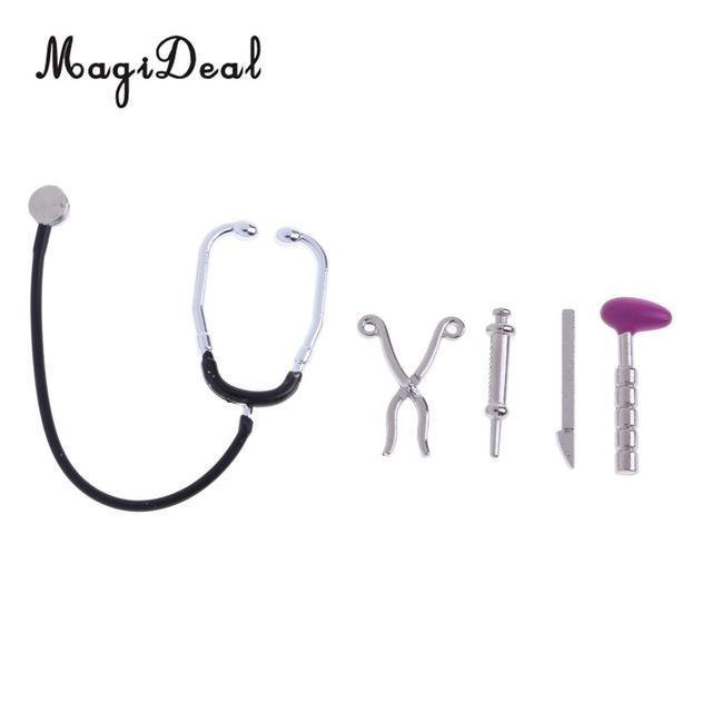 1/12 Dollhouse Miniature 5 Pieces Alloy Stethoscope Set Equipment Decoration for Kids Children Pretend Play Doctor Nurse Toys