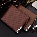 2017 hombres Carteras de Marca de La Cremallera de La Pu Hombres de Cuero Carteras de Tarjetas de Crédito Moda Carpetas Del Embrague Del Monedero de la Tela Escocesa Corta Estándar bolsa