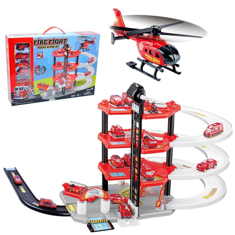 DIY Car Parking lot Assemble building blocks Track 3D Cars Racing Track Toys Slot Model toys for kids Children Birthday
