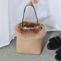 Fur Animal Bags Winter Top Handmade Artificial Leather Bag High Quality Bolsos Mujer Bucket Lovely Japan Small Tota