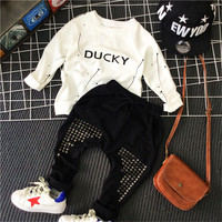 2pcs Boys Fashion Clothing Set Spring Autumn Boy Casual Clothes Kids White Letter Printed Hoodies And