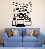 Removable Vinyl Wall Decal Social Network Communication Gadgets Stickers Bedroom Stickers Boys Art Decoration Vinilos NY