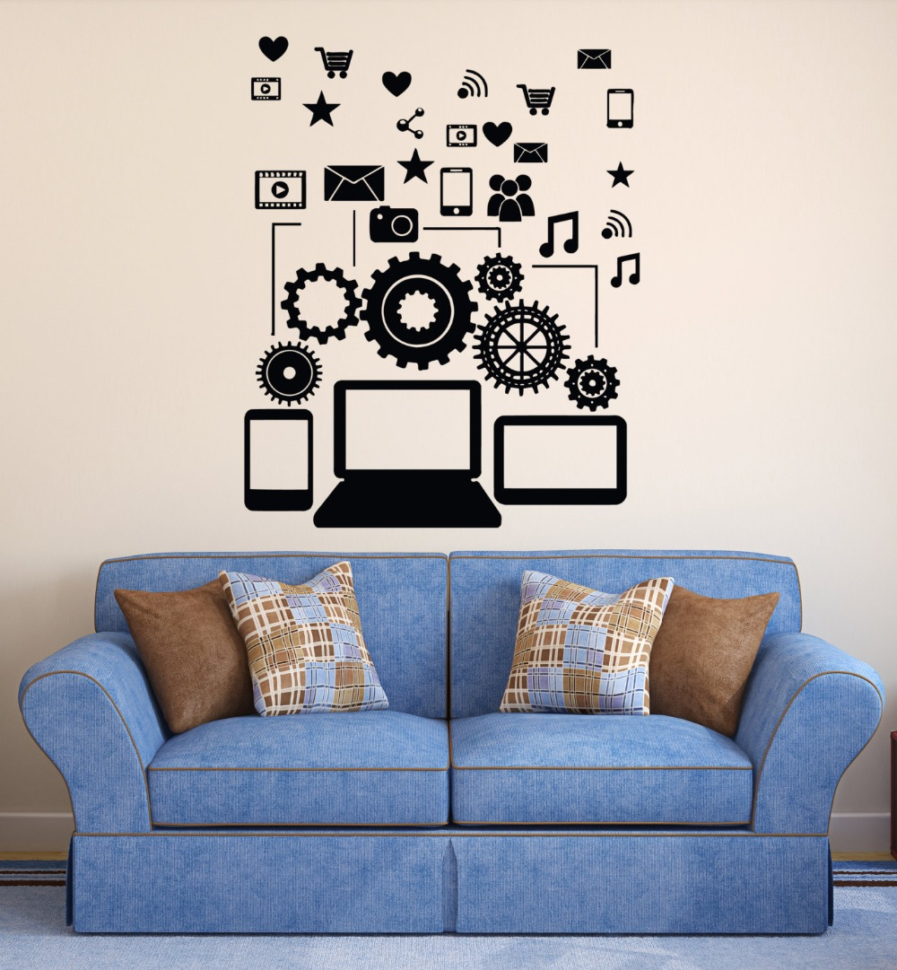 Removable vinyl wall decal social network communication Boys wall decor
