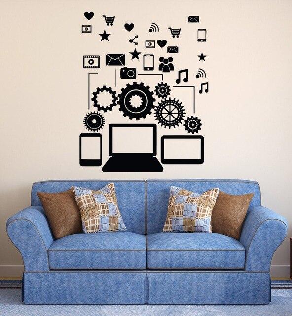 bedroom gadgets. Removable Vinyl Wall Decal Social Network Communication Gadgets Stickers  Bedroom Boys Art Decoration Vinilos NY