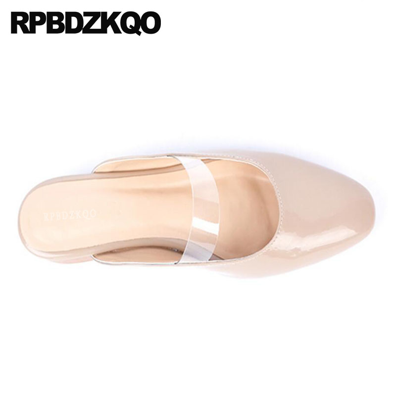 Mules Slides Pvc Women Clear Strap Heels Nude Closed Toe Transparent Sandals Slippers Square Block Spring Low Heel Pointed Shoes