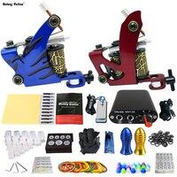 Complete Tattoo Kits 2 Pro Handmade Coil Machine Guns Power Supply 20 Needles Grip Tip Taty