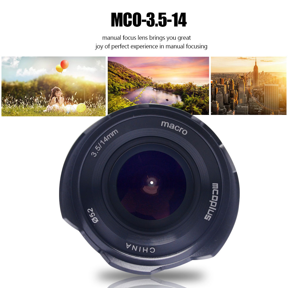 Mcoplus 14mm f/3.5 Grand Angle Mise Au Point Manuelle Macro Objectif pour Canon EF-E M1 M2 M3 M5 M6 m10 M100 APS-C Mirrorless Caméra