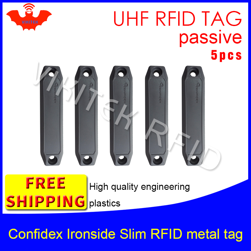UHF RFID metal tag confidex ironside slim 915m 868mhz Impinj Monza4QT EPC 5pcs free shipping durable ABS smart passive RFID tags