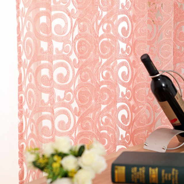 Ip perde deurgordijn su perde Voile Tulle Per Soggiorno Tenda Cucina Tenda Set Asta Occhielli Tulle sulla finestra Viola WP051 * 20
