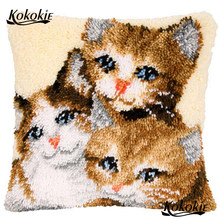 Latch hook rug kits counted cross stitch kits for embroidery embriodered mats cats cushion Patchwork Pillowcase diy needlework(China)