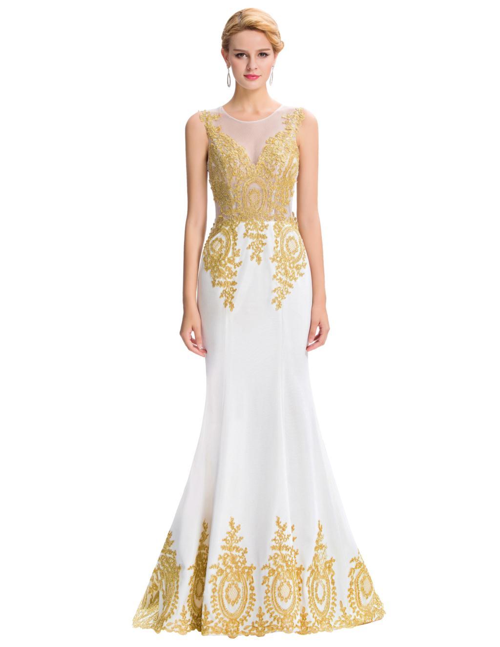 Long Mermaid Gold Appliques Evening Dress - Uniqistic.com