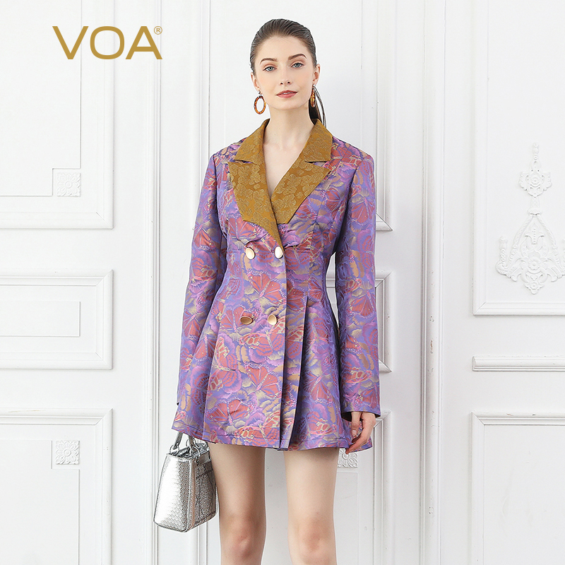 VOA Silk Rococo Trench Coat Women Slim Tunic Fall Long Sleeve Vintage Elegant Ladies Outerwear Butterfly Printed Clothes F335