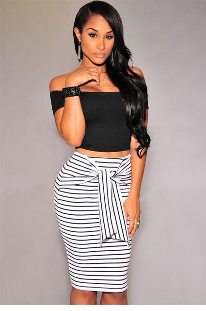 saia feminina summer 2017 autumn female ladies pencil skirts womens Black  White Fashion Stripes Self-tie Midi Skirt LC71094 ad219880144c