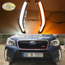 For Subaru Forester 2013 2014 2015 2016 LED Daytime Running Lights Fog lamp with Yellow turn signal DRL 12V ABS driving lights