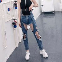 2019 Spring New Sexy Women Hole Jeans Straight High Waist With Sashes Irregular Hollow Out Pants