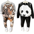2016 Children Clothing Sets Animal Tiger Panda Design Unisex Boys Girls Clothes Pants Suit Autumn Winter Thick Kids Clothes
