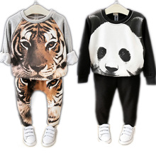 2016 Children Clothing Sets Animal Tiger Panda Design Unisex Boys Girls Clothes Pants Suit Autumn Winter