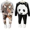 2016 Niños Juegos de Ropa del Tigre de los Animales Panda Diseño Unisex niños Niñas Ropa Pantalones de Traje de Otoño Invierno Gruesa Ropa de los Cabritos