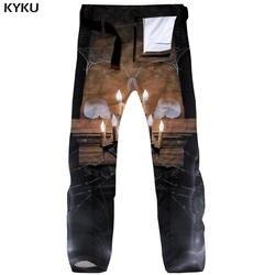 KYKU Бренд Хэллоуин штаны-карго Для мужчин огонь мешковатые черепа прямые паутина Тактический 3d принт штаны Для мужчин s брюки