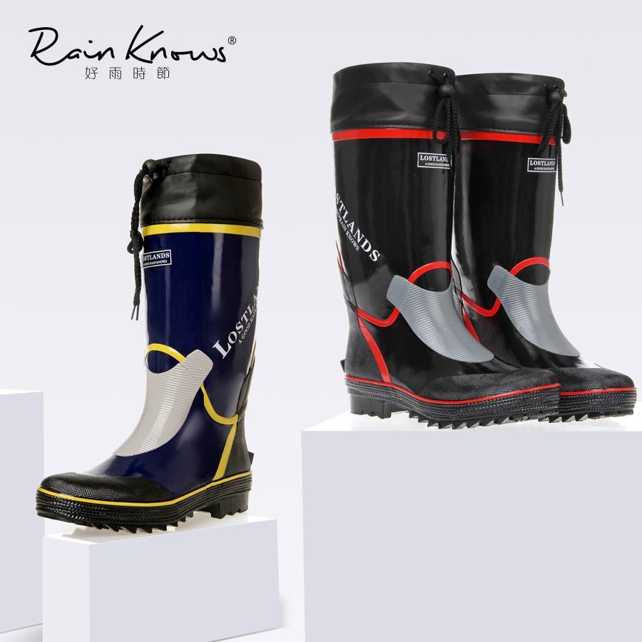 Mi-mollet bottes de pluie hommes caoutchouc bottes de pluie haute eau chaussures Pvc Gummistiefel bottes de pluie plat anti-dérapant grande taille 46 décontracté