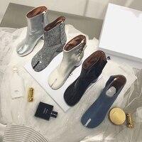 Autumn Women's Ankle Boots Split Toe Genuine Leather Shoes High Heel Zipper Fashion European Style OL Shoes F18