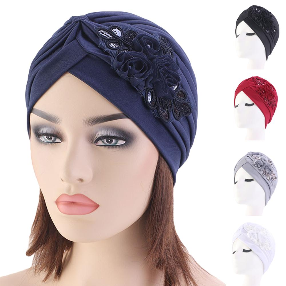 Women India Hat Women Muslim Islamic Elastic Turban Head Scarf Flower Beanie Hat Headwear Fashion Ruffle Turban Chemo Cap Pleate
