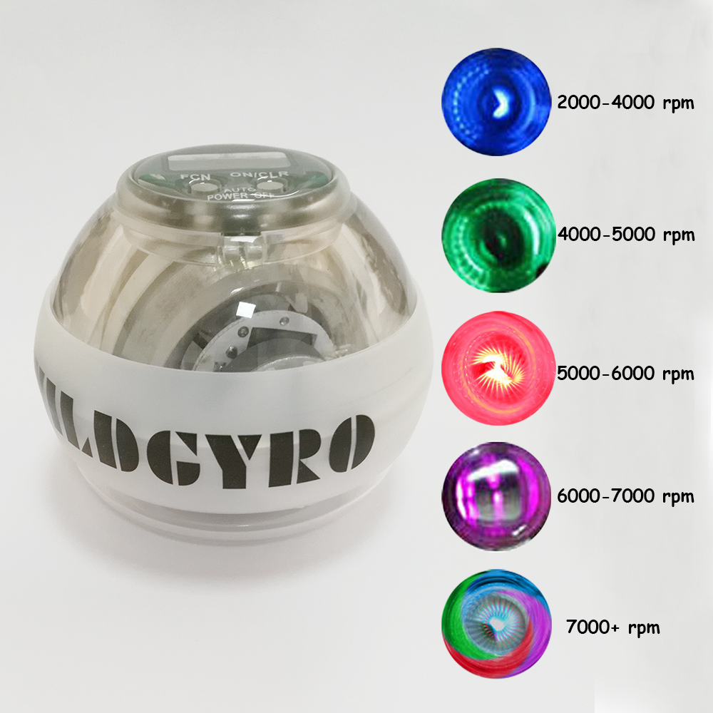 Aurora Color Mix LED Platinum Power Wrist Ball Strengthen Auto Start Ball Gyroscopic PVC Speed Counter Hand Force Spinner Ball E ...