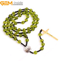 Gem Inside Natural Stone Beaded Cross Rosary Catholic Protestant Episcopal Prayer Rosaries Beads Necklace For Women