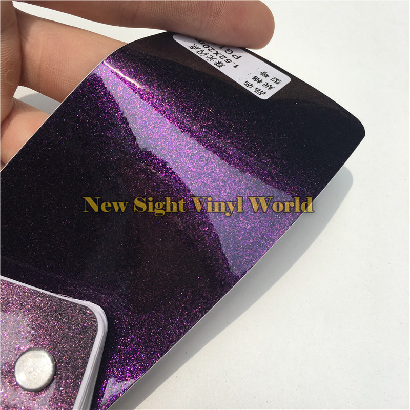 3 Layers Glossy Pearl Glitter Purple Diamond Vinyl Wrap Roll Bubble Free For Auto Size:1.52*20M(5ft X 65ft) new hitech 5 7 inch hmi touch screen plc hmi operator panel display mono stn lcd pws6600s p 640 480 2com 1year warranty