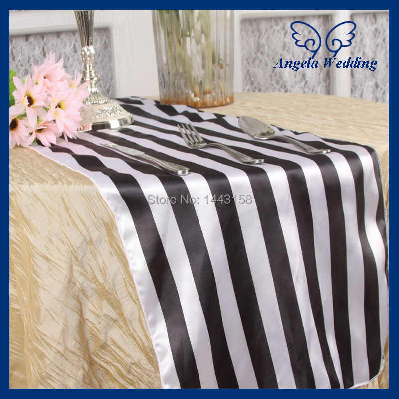RU010A  Custom made Wedding satin black and white stripe table runner