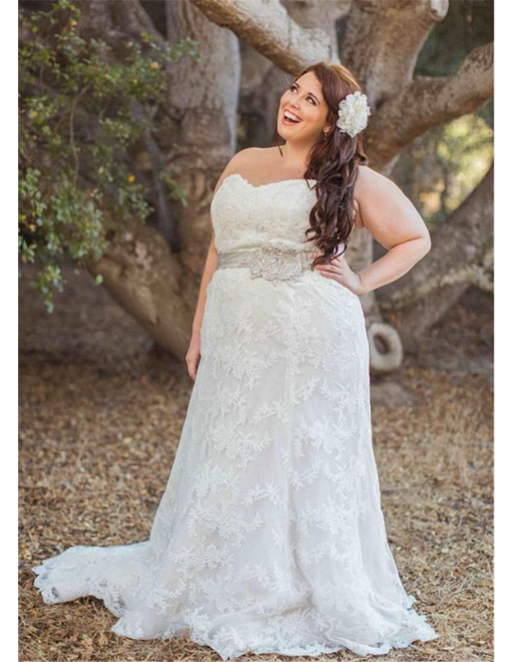 New strapless lace white ivory plus size wedding dress for Ivory wedding dress sash