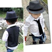 Caliente moda estilo lindo Kid niños Caballero de lana del casquillo del  sombrero headwear gris  8cba0c5a478