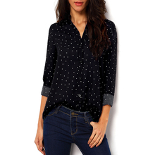 Women Summer Classic Clothing Black Polka Dot Blouses With Buttons Shirts V Neck Long Sleeve Loose Chiffon Blousa Shirt AQ906782