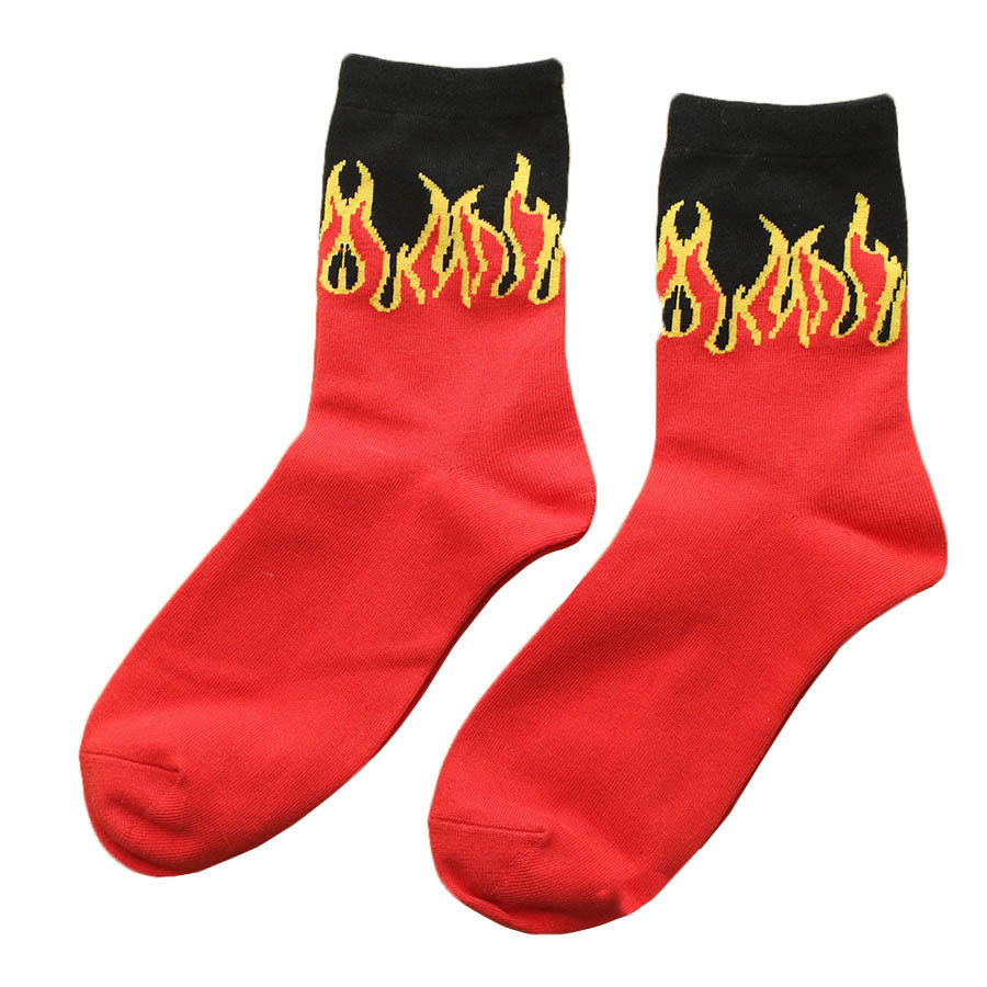Cool Crew Socks New Men's Red Flame Pa...