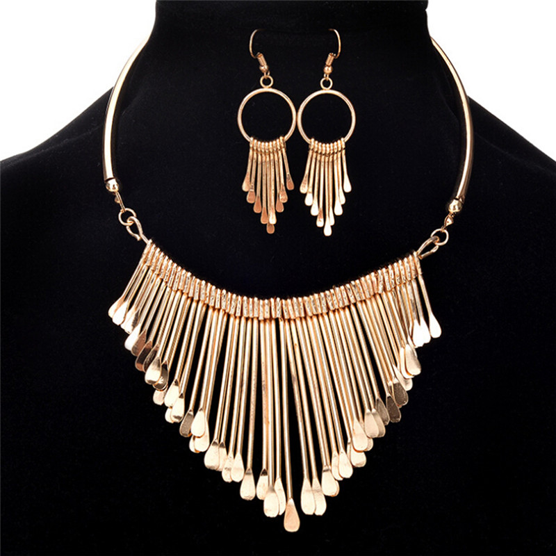 Womens Metal Tassels Pendant Necklace and Earrings Jewelry Set Luxury Chain Bib Delicate Jewelry Gift New