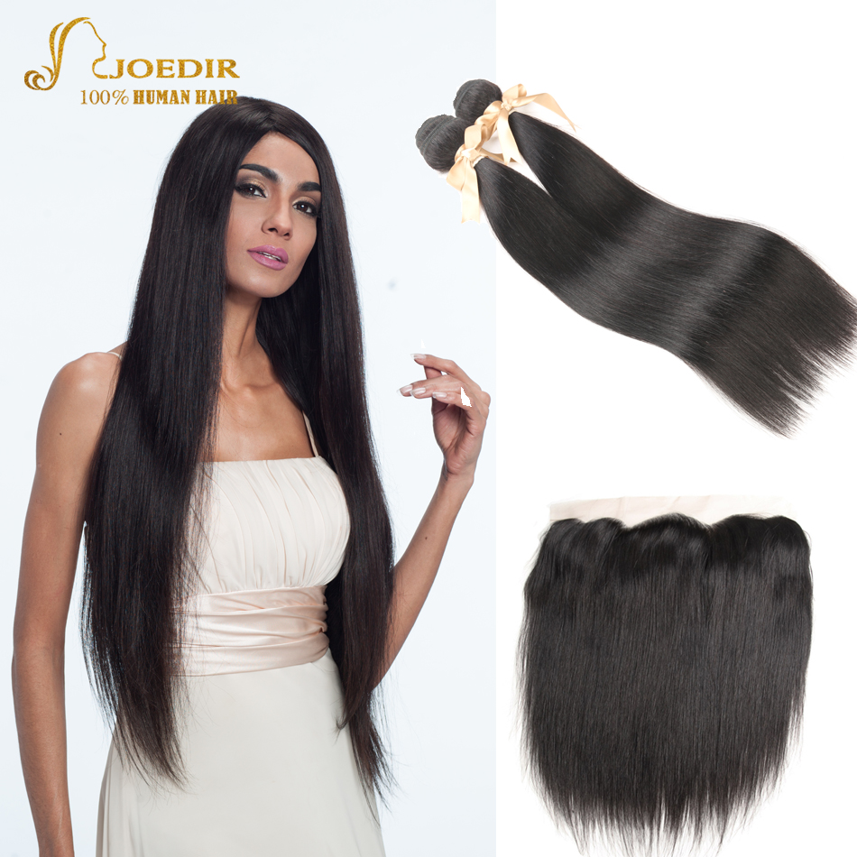 Joedir Malaysian Straight Hair Bundles With Frontal Closure 2 Pcs Human Hair Extensions  ...