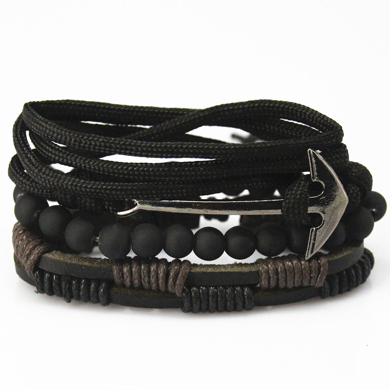 New Fashion accessories anchor Bead Leather Bracelets & bangles 4 pcs 1 Sets Multilayer Braided Wristband Bracelet Men pulseira