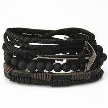 New Fashion accessories anchor Bead font b Leather b font font b Bracelets b font bangles