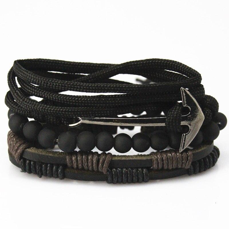 aa281ff76596 Nuevos accesorios de Moda de anclaje Cordón de Cuero Trenzado de Múltiples  Capas de Pulseras y