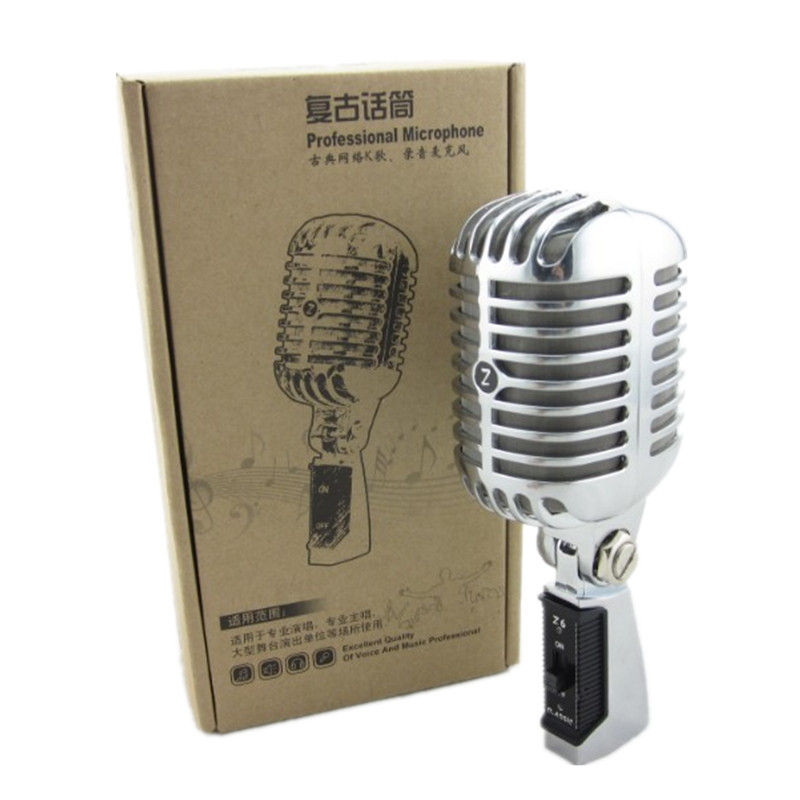 Professional Wired Vintage Classic Microphone Top Quality Dynamic Moving Coil Mike Deluxe Metal Vocal Old Style
