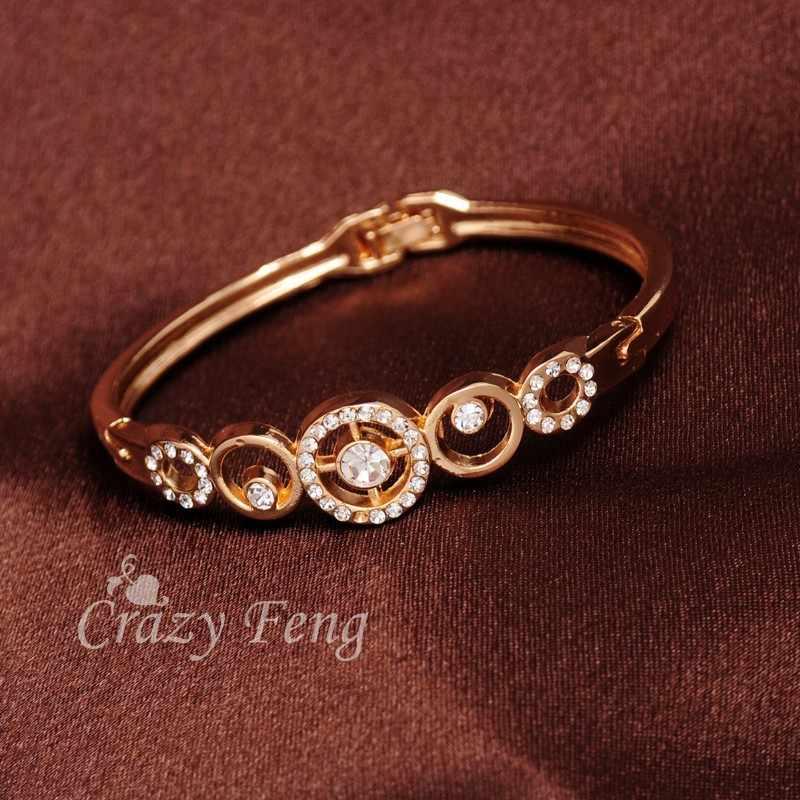 טרנדי מותג זהב צבע עגול קריסטל צלב קסמי צמידי צמידים לנשים מסיבת חתונת כלה תלבושות תכשיטי Bijoux מתנה