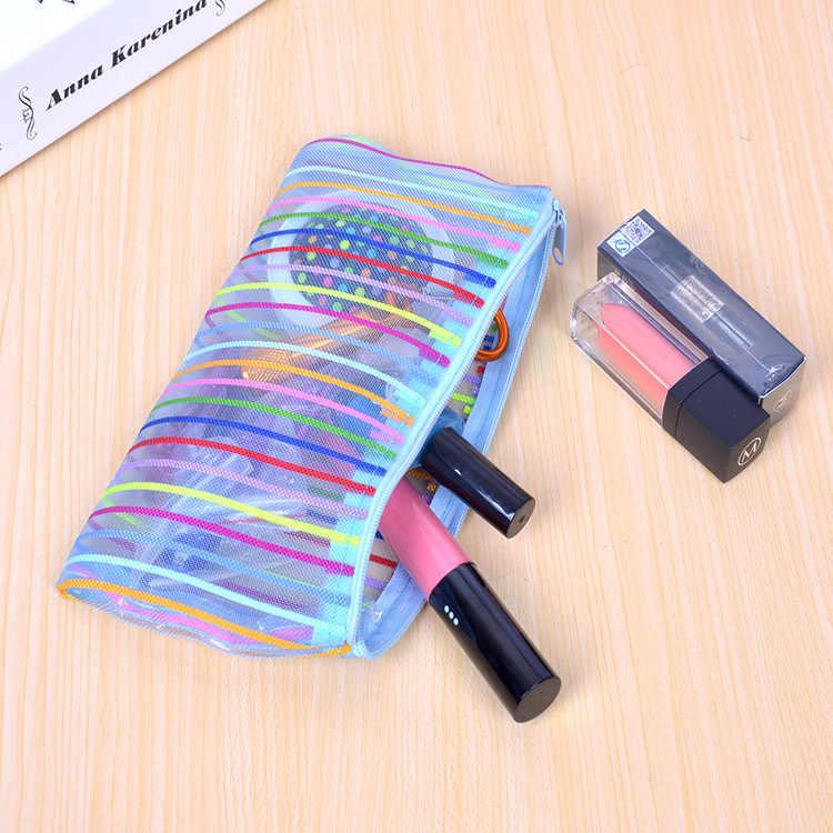 Rainbow color perspectiva saco Sacos de Caso 2016 Caso Bonito Lápis De Pelúcia Grande Capacidade de Lápis Material Escolar Papelaria Pen Box