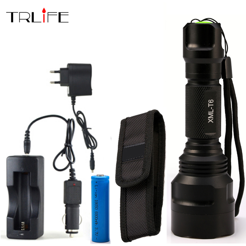 8000 Lumens Flashlight LED CREE XM-L2/T6 Tactical flashlight +DC/Car Charger+1*18650 battery+Holster Torch Light Lamp led tactical flashlight 501b cree xm l2 t6 torch hunting rifle light led night light lighting 18650 battery charger box