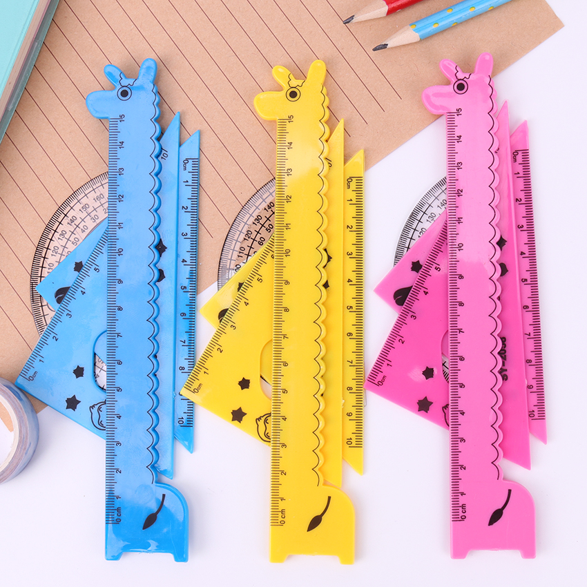 4PCS/Set Digital Protractor Level Measuring Tool Plastic Ruler Kawaii Ruler Set Animal Rulers School Office Tools