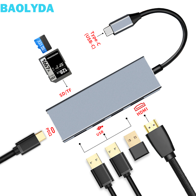 Baolyda usb tipo c hub 7in1 adaptador thunderbolt com 4 k hdmi usb pd carga sd tf leitor de cartão para macbook por samsung galaxy s8