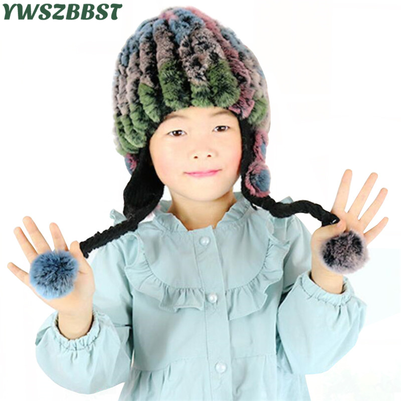 Fashion Winter Kids Hat for Child Warm Rabbit Fur Cap Baby Hats for Girls Pompom Children Hat Cap Boys Cap hl112 men s real leather baseball cap hat winter warm russian one fur beret belt gatsby hunting caps hats with real fur inside
