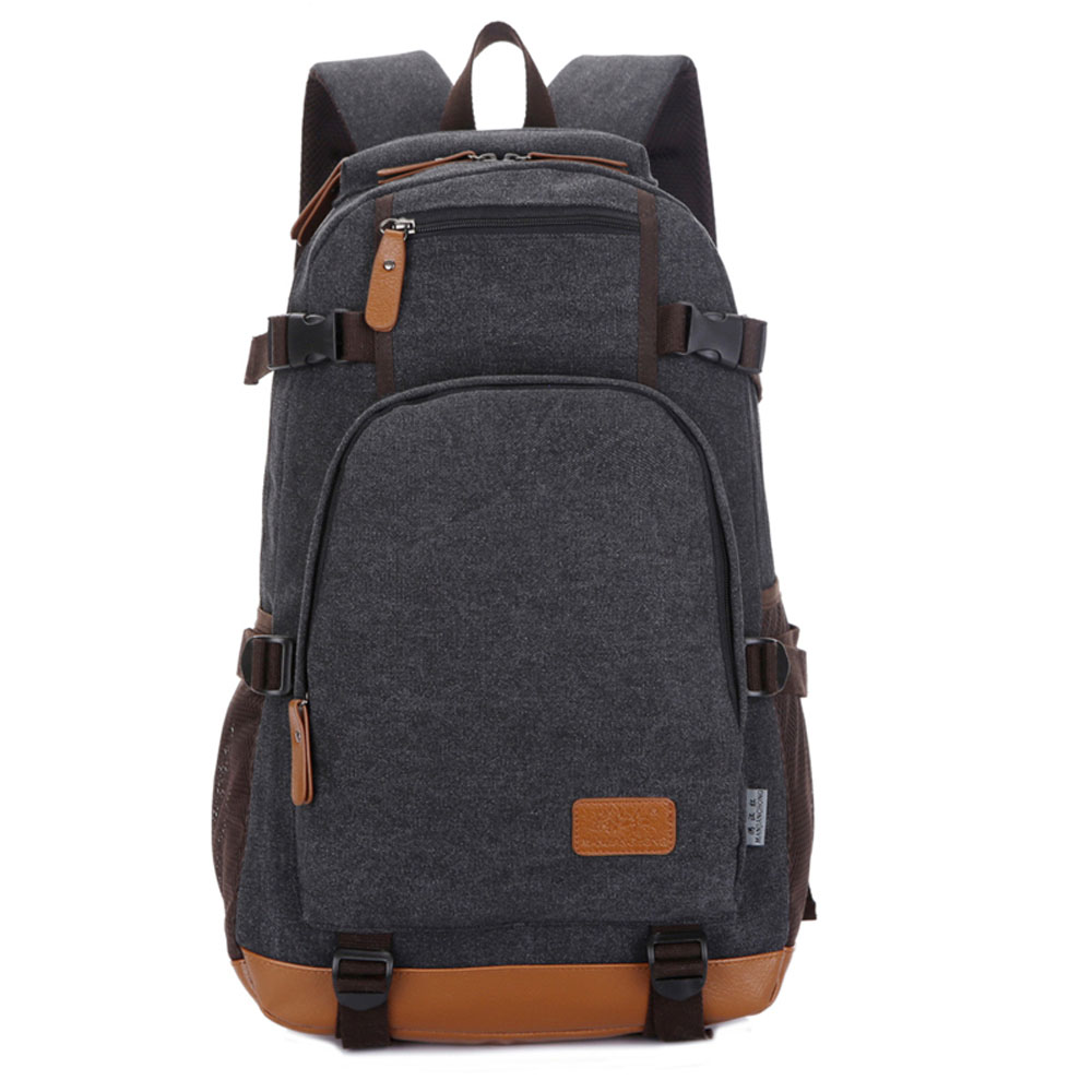 ФОТО  Large Capacity Leisure Men Canvas Laptop Backpack Durable Versatile Women School Bag Travel Daily Rucksack Bags
