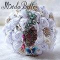 Бабочка Кристалл Свадебный Букет Брошь Атласа Букет Де Mariage Blanc Красная Роза Шелковый Невесты Свадебные Цветы Для Невесты