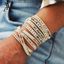 Boho ручной работы Тканые каменные бусины браслеты для женщин Винтаж многослойный обёрточная Бумага браслет на руку очаровательный браслет Pulseras Mujer